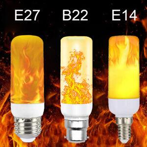 B22 E14 E27 LED Flicker Flame Light Bulb Burning Fire Effect Candle Bulb Lamps