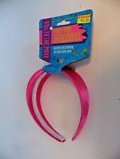 Pink Satin Headband 60's School Halloween Costume Hippie Accessory Party
