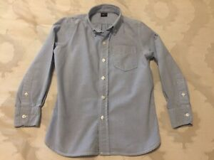 Gap Kids Boys Classic Blue Button Down Dress Shirt Size 6-7 Small Long Sleeve