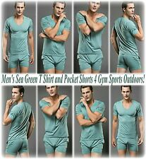 Men's Sea Green T Shirt and Pocket Shorts 4 Gym Sports Relaxation Outdoors HTF