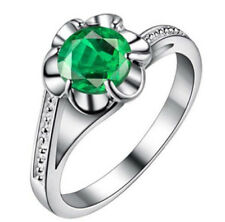 Fashion Women Green Gemstone CZ Crystal Silver Wedding Ring Jewelry Size 10