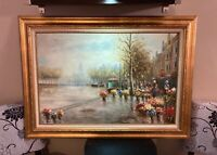 Original Vintage Mid Century Framed Oil Painting Amsterdam Canal Houses Signed