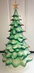 """Vintage Union Products Blow Mold Plastic 21"""" Lighted Christmas Tree EUC Electric"""