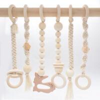 Natural Wooden Deer Macrame Play Gym Toys Crochet Tassels Sensory Nursery Decor