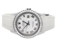 Unisex Rolex Datejust 36MM Orange Rubber Band Roman Dial Diamond Watch 2.5 Ct