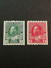 Canadian Stamps -- Canada 1913 King George V Coil Stamps Perf 8 123-124