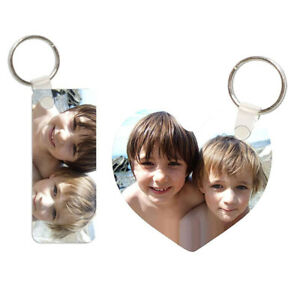 Personalised Double Sided Photo Keyring (Heart) Made with Your Own Photos