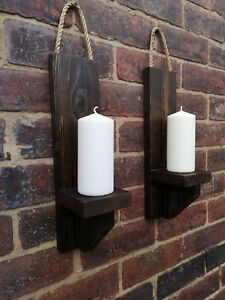 Pair of fire treated  wooden wall sconces - pilar candle holder  50cm 20 inch