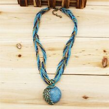 "Peacock opal Necklace Jewelry for Woman Bohemia Cats Eys Fashion ""18"" blue/green"
