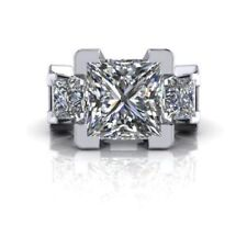 4.70 Ct Princess Cut Near White Moissanite Engagement Ring 925 Sterling Silver