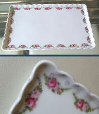 VINTAGE/ANTIQUE CERAMIC TRAY-DAINTY ROSE DECORATION-SCALLOPED RIM   *