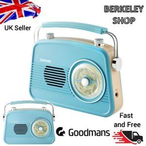 Goodmans Retro AM/FM Radio Retro Vintage Portable Battery Mains Plug Blue