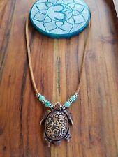 Sea Turtle Pendant Gypsy Aqua Beads Suede Leather Necklace ♡ Tribal Ocean Design