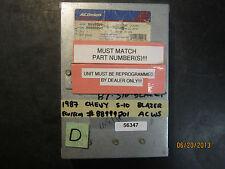 87 CHEVY S-10 BLAZER ECU/ECM #88999201 ACWS *See item description*