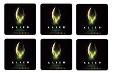 "ALIEN BEVERAGE COASTERS - 1/4"" BAR & BEER SET OF 6"
