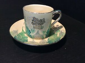 SUSIE COOPER FOR GRAYS POTTERY ? PATTERN A985  A  LUSTRE COFFEE CUP CAN & SAUCER