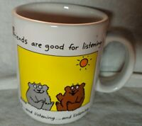 1986 Hallmark Shoebox Greetings Mug Friends are good for listening white