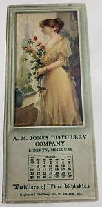 Jones Distillery Whiskey Girl Pin Up Ink Blotter Mini Sign Liberty Missouri 1915