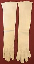 Vintage Leather Gloves 3/4 Length Women's Size 6 1/2 Ivory/Beige