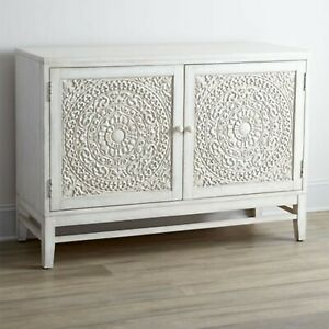 Made to Order Floral Hand Carved Solid wood Sideboard White M