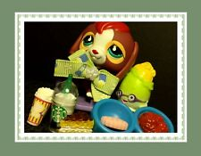 Littlest Pet Shop Beagle #849 Brown w/ Aqua Green Eyes and Red Hair Starbucks