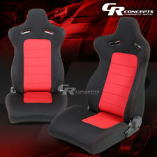 2 X TYPE-XL10 RED/BLACK SPORTS JDM RACING SEATS+MOUNTING SLIDER RAILS LEFT+RIGHT