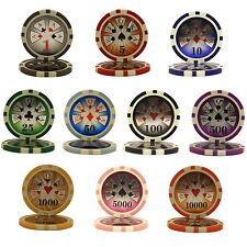 1000 pcs 14 G High Roller Casino Clay Poker Chips Bulk - Choose Denominations