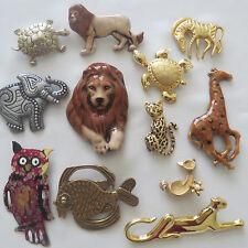 Vintage & Now Fashion Jewelry Animal Enamel Ceramic Brooch Pin Lot #17