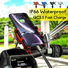 USB Charger Aluminum Motorcycle Bike Mobile Phone Mount Holder Grip Clamp  *