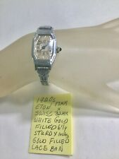 1920s Eton Swiss Ladys White Gold Filled Wristwatch With Lace Band Running