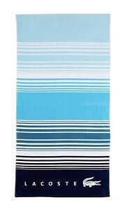 "Lacoste Horizon 100% Cotton Beach Towel, 36"" W x 72"" L Striped Teal Rare New"