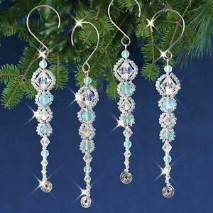 Nostalgic Christmas Beaded Crystal Ornament Kit-Shimmer Icicles Makes 4