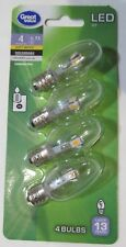 4-PACK LED NIGHTLIGHT BULBS 4-WATT/0.75W CLR INDOOR/OUTDOOR GLASS C7 CANDELABRA