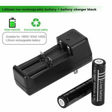 2pcs 18650 6000mAh 3.7V Li-ion Rechargeable Battery + Battery Charger Black Tool