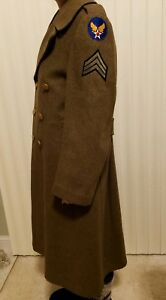 WWII U.S. Army Air Force Sergeant Military Officer's Long Wool Olive Jacket Coat
