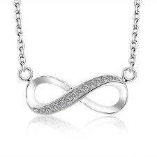 Silber Anhänger mit Kette Infinity  Unendlichkeit Sterlingsilber 925 ewige Liebe