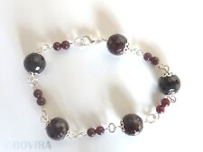 Natural Garnet Silver Plated Handmade Bracelet For Women-Beaded-Wire-Chain-Real