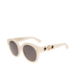 RRP €320 GUCCI Round Butterfly Sunglasses Fleck Effect Stars GG & Bee Logo