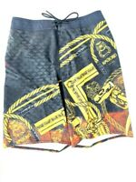 Reebok Crossfit UNKNOWN Board Shorts - Men's size 29 - Black Gold Chains Ropes