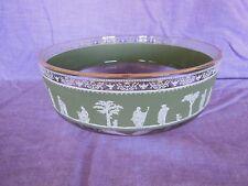"Jeanette Wedgwood Greek Hellenic Green Large Glass Bowl Gold Trim 8"""