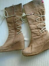 Sugar & Tommy brown wedge boots size 7 EU40
