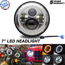 DOT 7inch Round LED Headlight /w Halo Angle Eyes Fit Jeep Wrangler JK LJ TJ