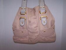 B. Makowsky Beige Leather Gold Leather Trim Studs Large Shoulder Bag