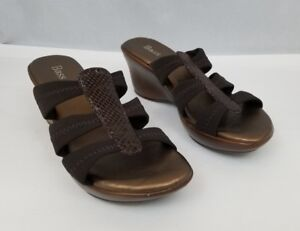 Bass Womens Wedge Sandals Dahlia Brown Bronze Size 6M Snakeskin Design Strap