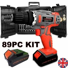 TERRATEK 18V CORDLESS COMBI DRILL DRIVER ELECTRIC SCREWDRIVER 89PC & 2 BATTERIES