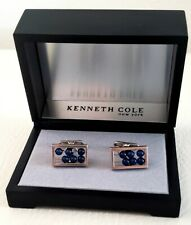 Kenneth Cole cuff links new in box silver blue