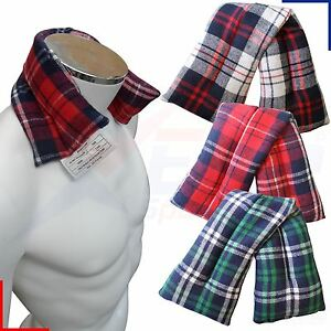 Hot or Cold Tartan Fleece Wheat Heat Pack Bag Muscle Joint Pain Relief