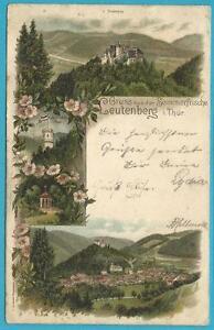 Leutenberg in Thüringen colorierte Karte: Gruss aus der Sommerfrische! selten!