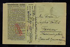 1940s Germany Auschwitz Concentration Camp Cover KZ Stanislaus Fertil to Tarnow