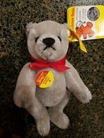 "STEIFF MINIATURE Mohair JOINTED BEAR Grey teddy 5""  tags and pin 0207/14"